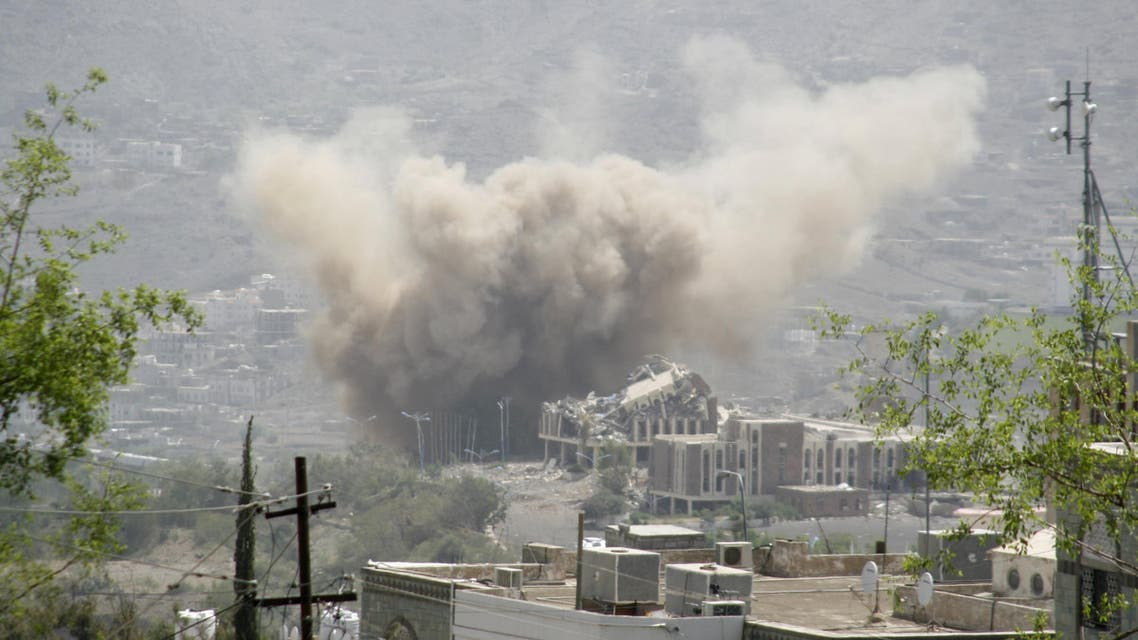 Dust rises from the site of a Saudi-led air strike in Yemen's southwestern city of Taiz Reuters