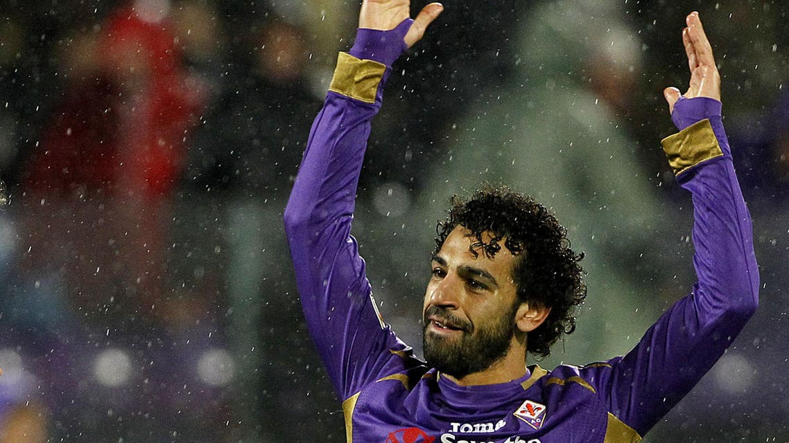 Fiorentina's Mohamed Salah Ghaly, left, celebrates after scoring during a Serie A soccer match between Fiorentina and Sampdoria at the Artemio Franchi stadium in Florence, Italy Saturday, April 4, 2015.