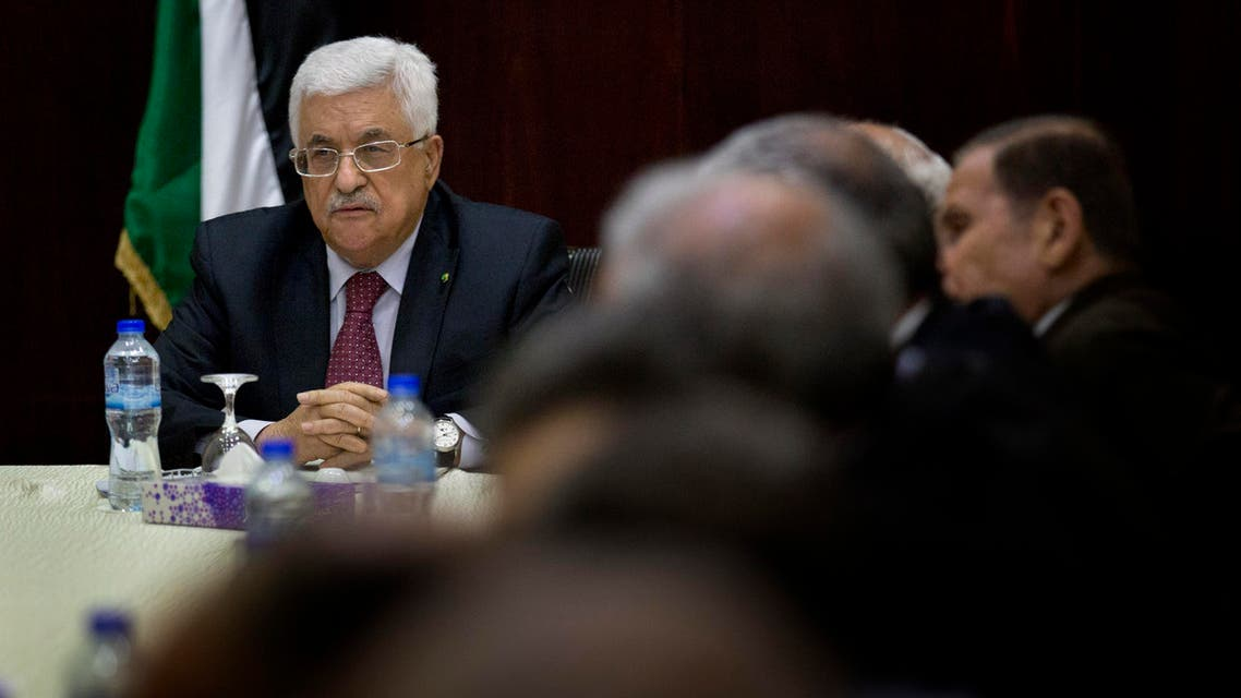 Palestinian President Mahmoud Abbas heads the Palestine Liberation Organization (PLO) Executive Committee meeting at the Palestinian Authority headquarters, in the West Bank city of Ramallah, Monday, June 22, 2015. (AP Photo/Nasser Nasser)