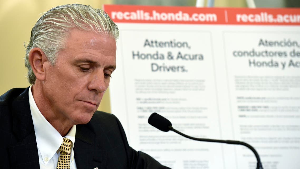 Rick Schostek, Executive Vice President at Honda North America, testifies before the Senate Commerce, Science, and Transportation Committee on Capitol Hill in Washington, Tuesday, June 23, 2015, for a hearing on faulty Takata airbags.