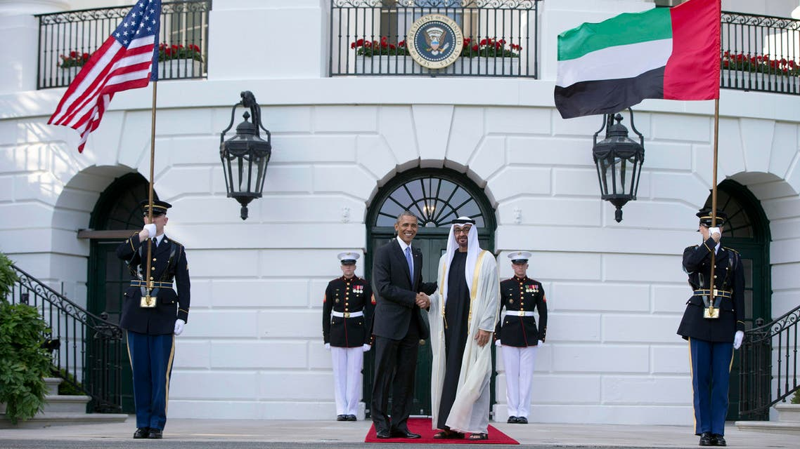 President Barack Obama, left, shakes hands with Sheikh Mohamed bin Zayed Al Nahyan, Crown Prince of Abu Dhabi, Deputy Supreme Commander of the UAE Armed Forces and Chairman of the Executive Council of the Emirate of Abu Dhabi, as he arrives at the South Lawn of the White House in Washington. (File Photo: AP)