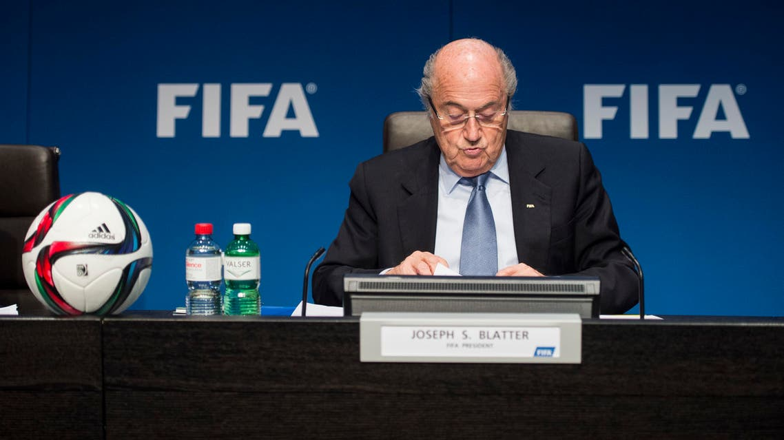 FIFA President Joseph Blatter speaks to journalists following the FIFA Executive Committee meeting in Zurich, Switzerland, on Friday, March 20, 2015.AP
