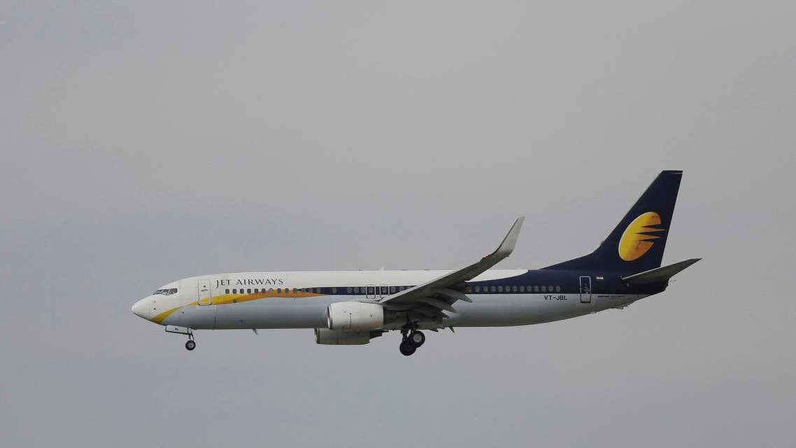 In this Thursday, April 16, 2015 photo, passenger Airbus of India's Jet Airways prepares for a landing at the Indira Gandhi International airport in New Delhi, India. (AP)