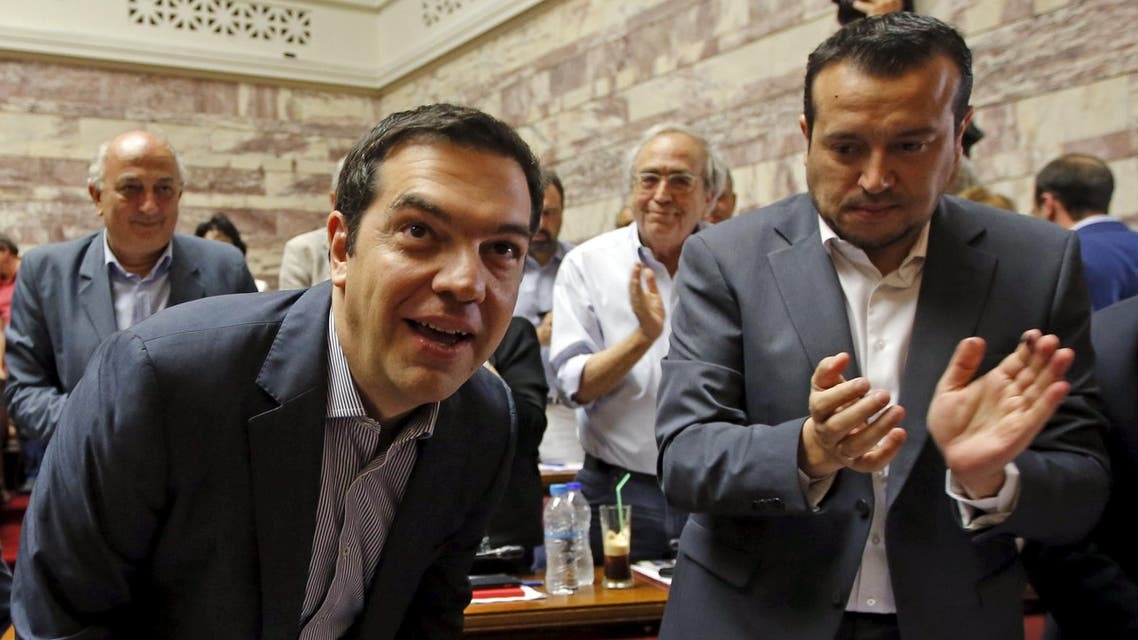 Greek Prime Minister Alexis Tsipras arrives for a session of the ruling Syriza's leftist party parliamentary group at the Parliament building in Athens, Greece July 10, 2015. (Reuters)