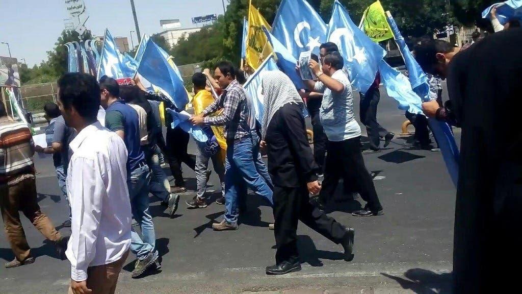 جانب من المظاهرة الداعمة لمسلمي الإيغور