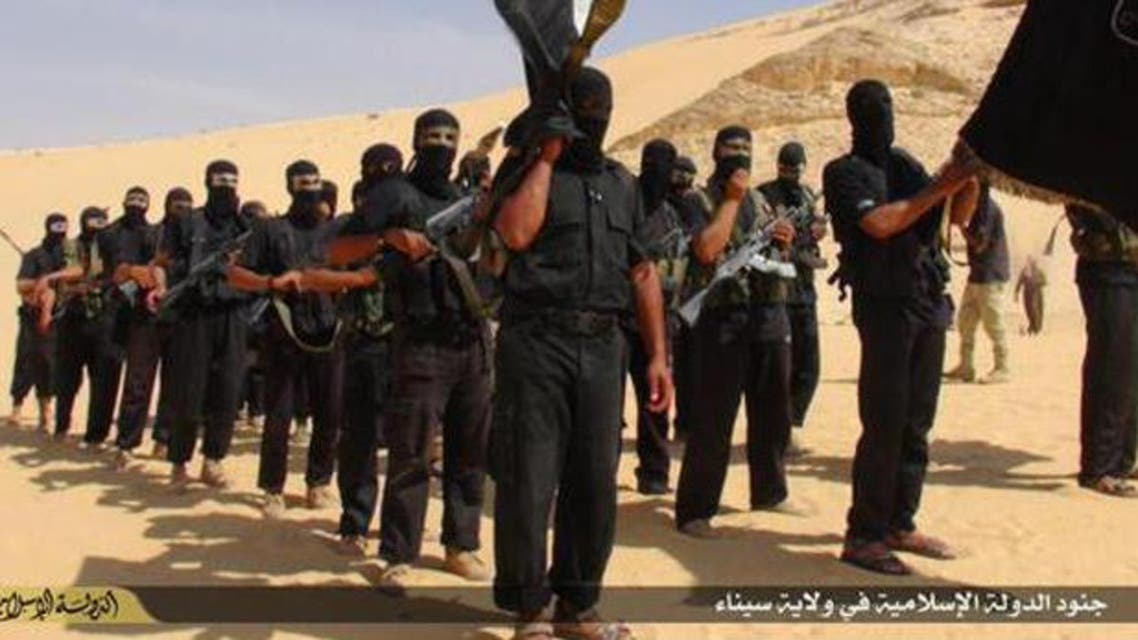 An image posted to social media purportedly shows militants of the ISIS affiliate in Egypt's Sinai Peninsula.