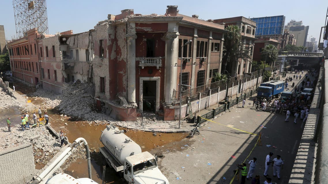 A general view of the site of a bomb blast at the Italian Consulate is seen in Cairo, Egypt, July 11, 2015. reuters