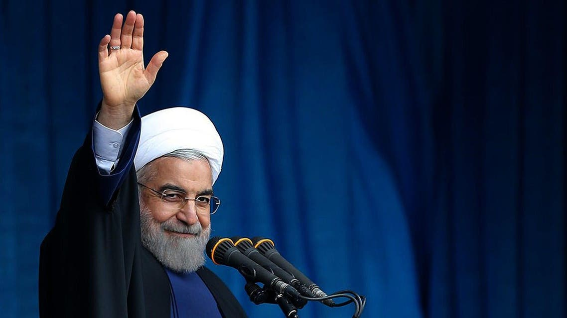 A photo provided by the office of Iranian President Hassan Rouhani shows him waving to the crowd during a public speech. (File: AFP)