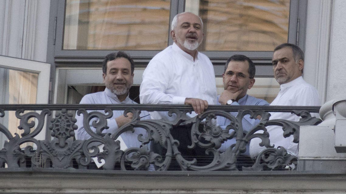 Iranian Deputy Foreign Minister Abbas Araqchi, Iranian Foreign Minister Mohammad Javad Zarif gather with other Iranian officials in Vienna. (File: AFP)
