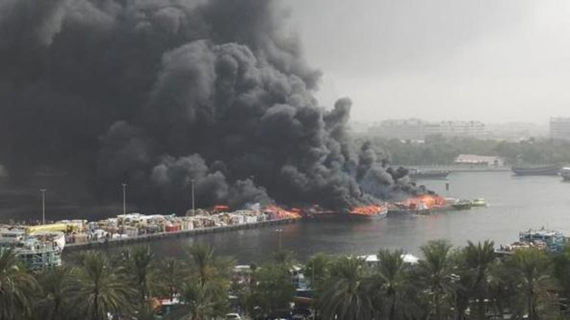 Fire on Dubai Creek (Courtesy of Vinay Verma on Social media)