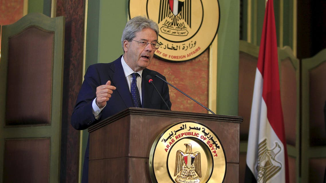 Italian Foreign Minister Paolo Gentiloni speaks during a news conference with his Egyptian counterpart Sameh Shoukry at the foreign ministry in Cairo. (Reuters)