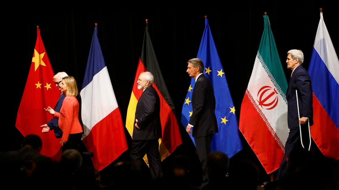 German FM  Frank Walter Steinmeier, EU High Representative for Foreign Affairs and Security Policy Federica Mogherini, Iranian FM Mohammad Javad Zarif, British Foreign Secretary Philip Hammond and U.S. Secretary of State John Kerry. (Reuters)