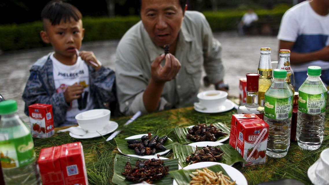 People look at plates of cooked insects at a park during an ethnic Hani minority event on the day before the summer solstice, in Mojiang, Yunnan province, China, June 21, 2015. Hani minority residents in Yunnan usually get together and mark the summer solstice by eating cooked arthropods including scorpions, centipedes, cockroaches, cicadas. Picture taken June 21, 2015. REUTERS/Wong Campion