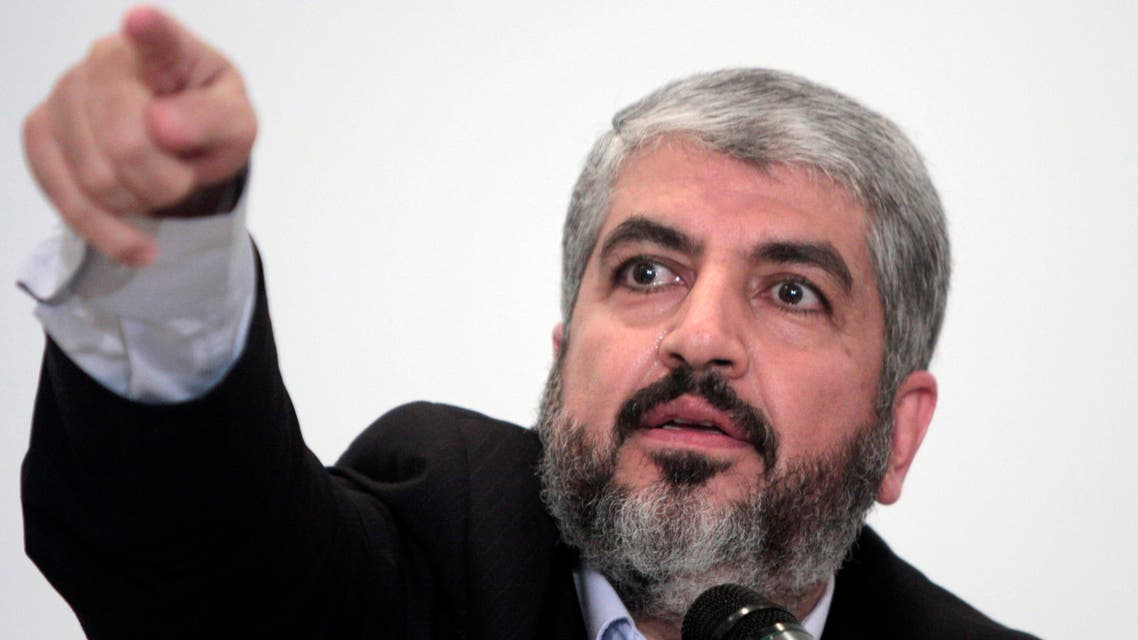 In this Sept. 28, 2009 file photo, Khaled Meshaal, head of Hamas Politburo in Damascus, talks during a presser following his talks with Egyptian officials in Cairo, Egypt. The Hamas militant group is denying claims Tuesday, Jan. 6, 2015 that its exiled leader, Khaled Mashaal, has been expelled from his base in Qatar. (AP Photo/Amr Nabil, File)