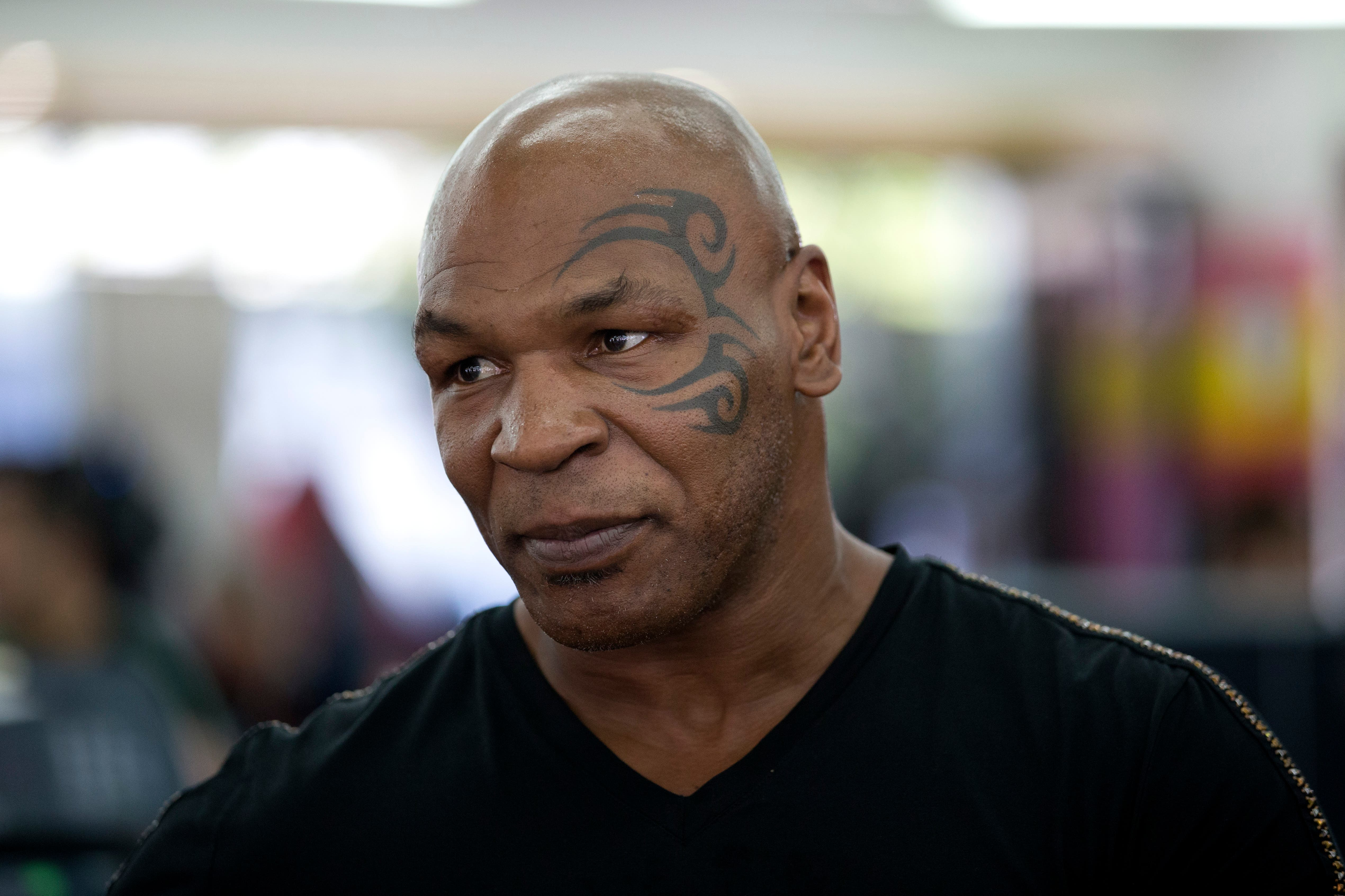 Former boxer Mike Tyson watches mixed martial arts fighter Ronda Rousey train during her workout, Wednesday, July 15, 2015, in Glendale, Calif. Rousey, the UFC bantamweight champion, will return to the octagon against Brazil's unbeaten Bethe Correia at UFC 190 in Rio de Janeiro on Aug. 1. (AP Photo/Jae C. Hong)
