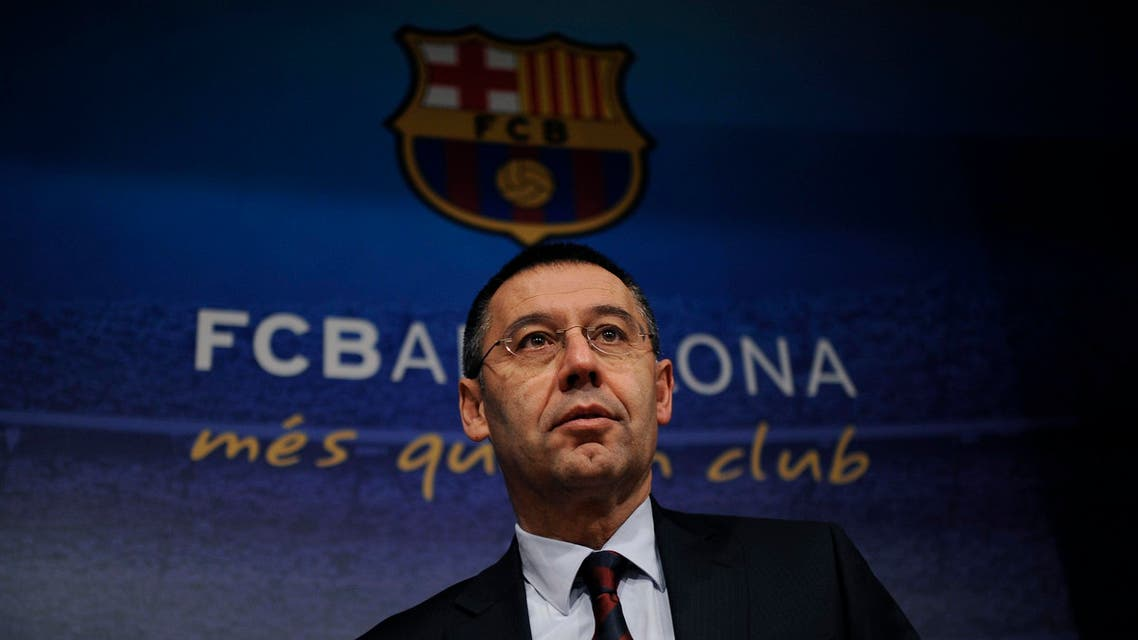 FC Barcelona's president Josep Maria Bartomeu arrives for a press conference at the Camp Nou stadium in Barcelona, Spain, Friday, Jan 24, 2014. AP