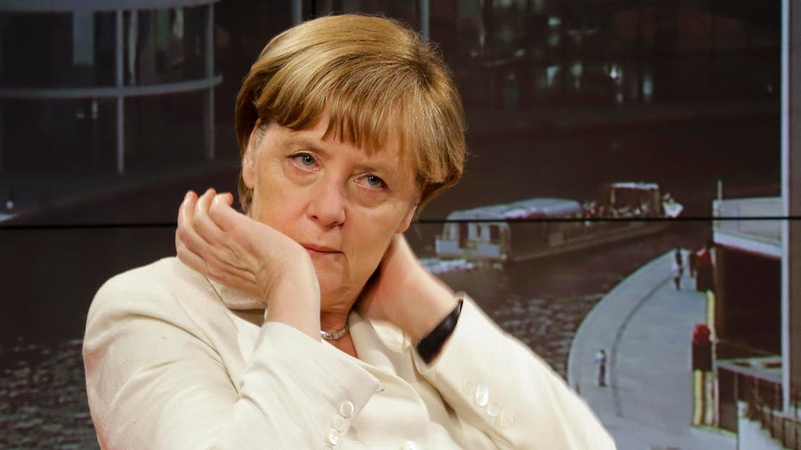 German Chancellor Angela Merkel waits prior to an interview at the studios of German public broadcaster ARD in Berlin, Germany, Sunday, July 19, 2015. (AP Photo/Markus Schreiber)