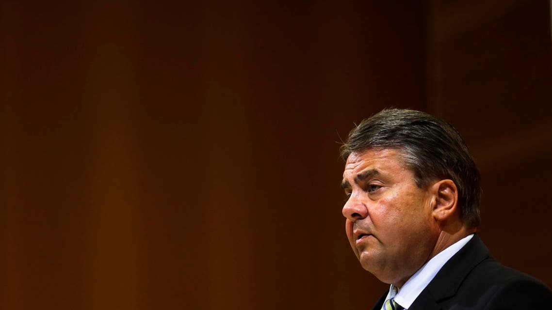 Sigmar Gabriel, Chairman of the Social Democratic Party, SPD, and Germany's Vice Chancellor and Economy Minister attends a news conference following a board meeting at the headquarters in Berlin, Monday, July 6, 2015.