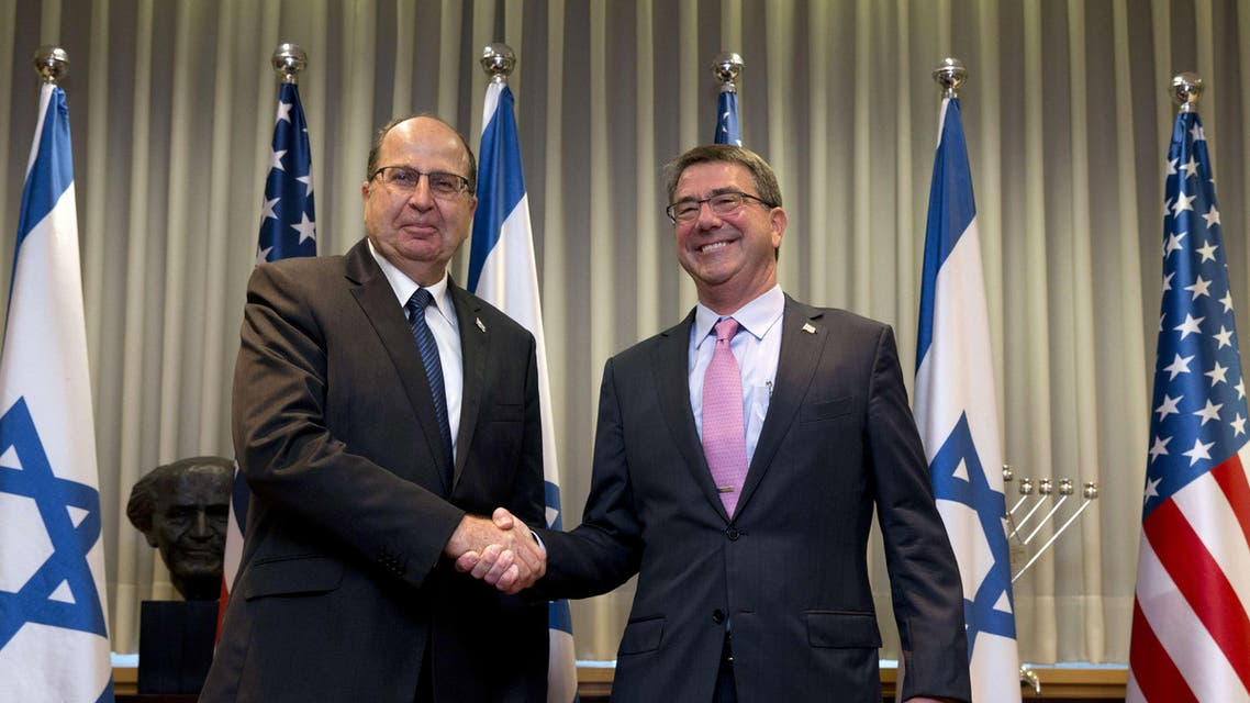 US Defense Secretary Ashton Carter (R) is greeted by Israeli Defence Minister Moshe Yaalon ahead of their meeting in Tel Aviv, on July 20, 2015. AFP