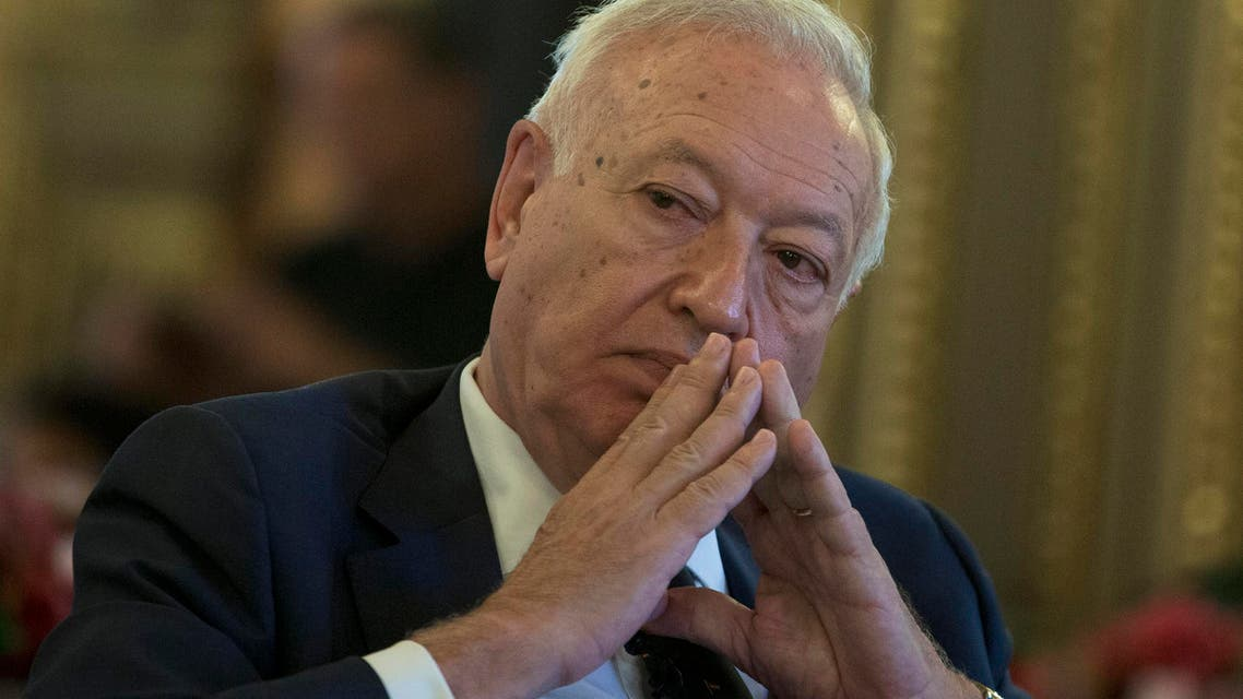 Spain's Foreign Minister Jose Manuel Garcia-Margallo pauses after speaking about three missing Spanish journalists in Syria during a conference in Madrid, Spain, Wednesday, July 22, 2015.