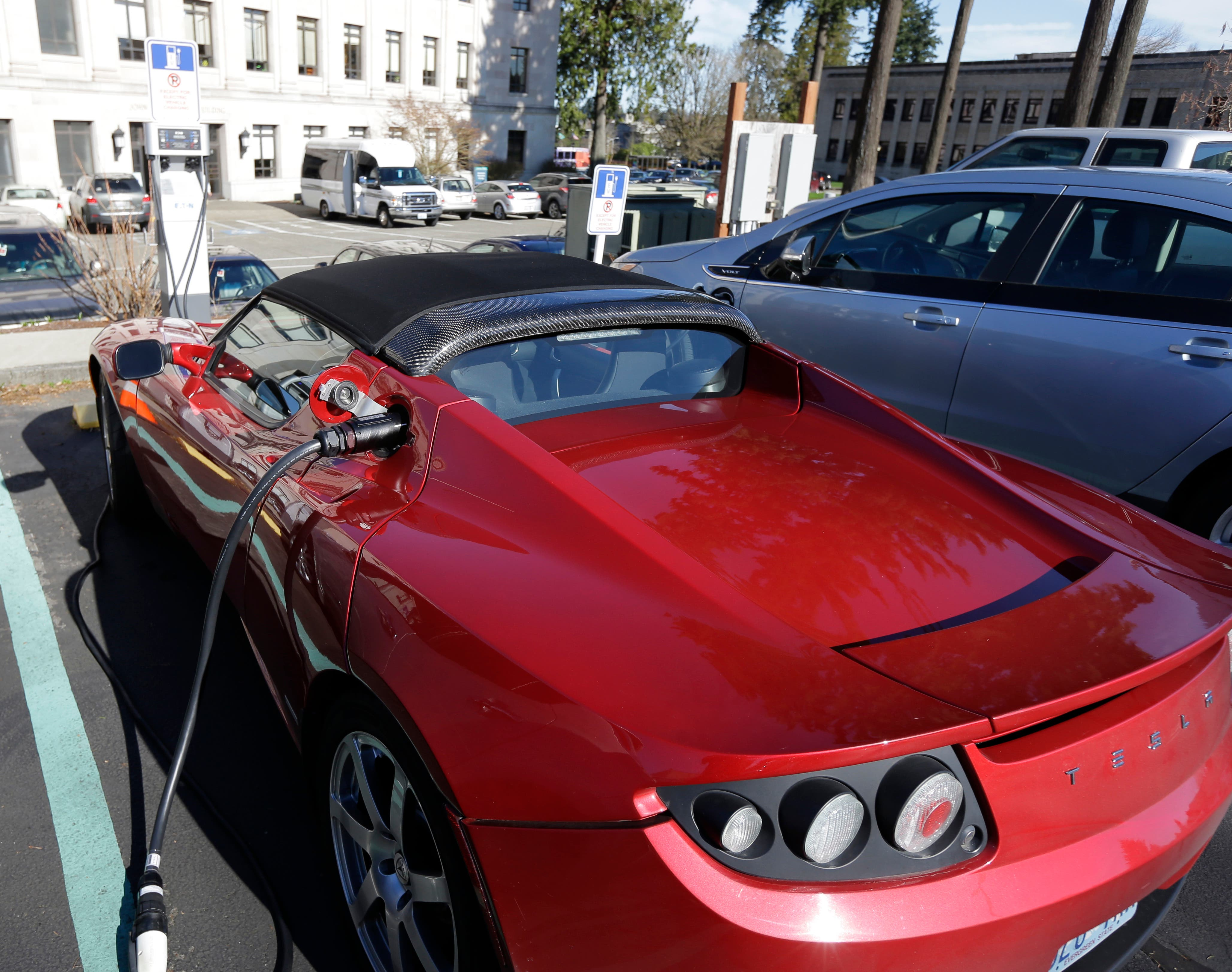 All-electric Tesla cars could soon become popular in the UAE due to rising fuel costs, one expert said (File photo AP)