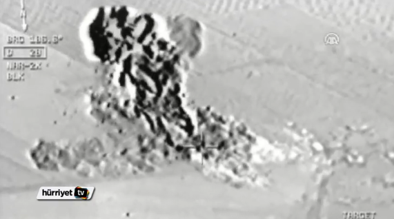Footage aired by Turkish broadcasters showed the strikes on purported ISIS targets in Syria (Video grab)