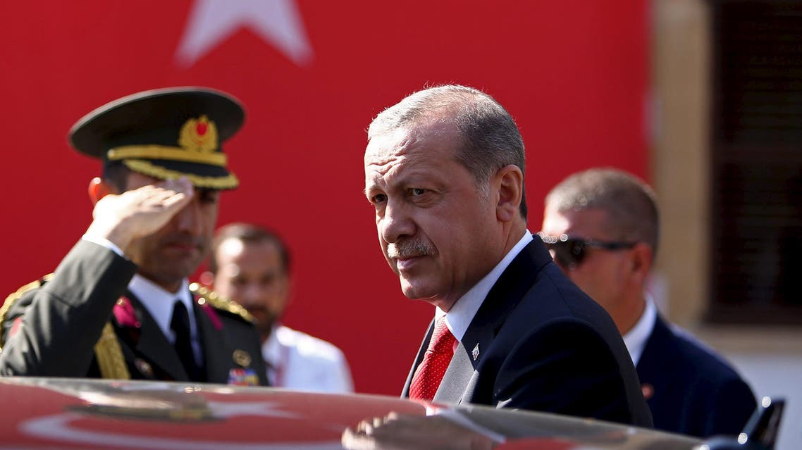 Turkey's President Tayyip Erdogan looks on durin his visit to Northern Cyprus July 20, 2015. REUTERS