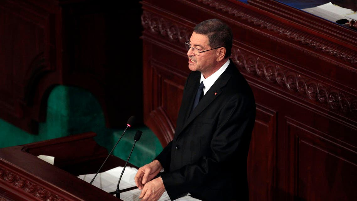 Tunisian Prime Minister Habib Essid delivers his speech at the national assembly in Tunis, Wednesday, Feb.4, 2015. (AP)