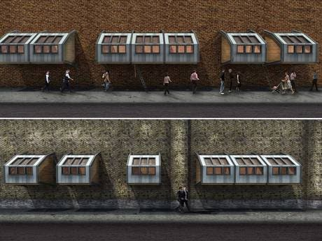 Architect designs award-winning floating pods to shelter London's homeless from elements