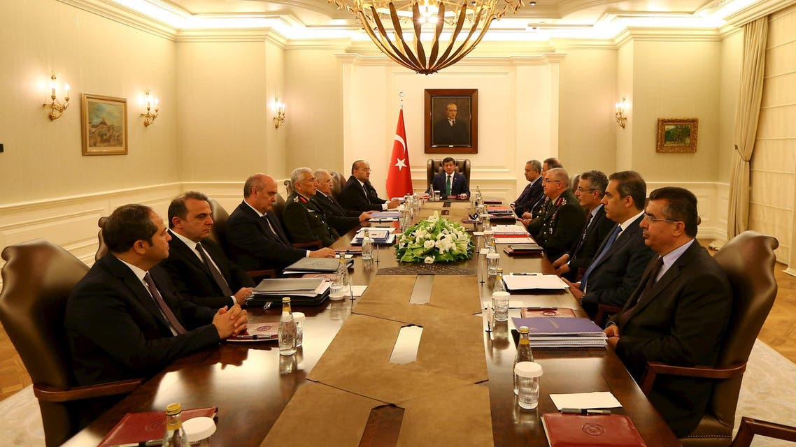 Turkey's Prime Minister Ahmet Davutoglu (C) chairs a security meeting in Ankara, Turkey, in this July 23, 2015 handout provided by Turkey's Prime Minister's Press Office.  (Reuters)