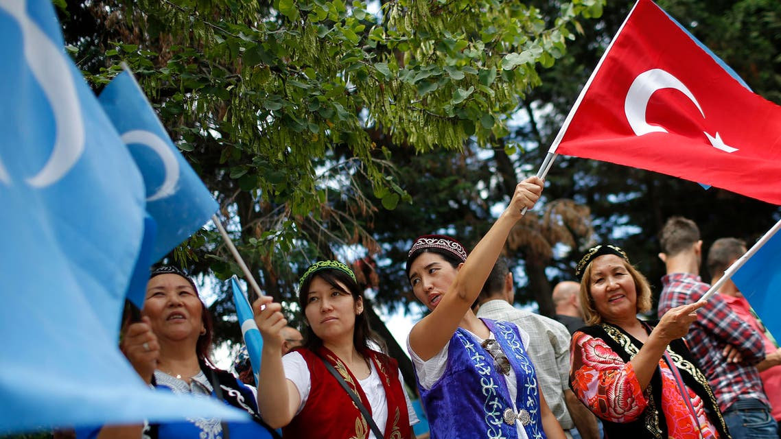 Uighurs living in Turkey stage a protest in Istanbul, Saturday, July 4, 2015, against what they call as oppression by Chinese government to Muslim Uighurs in the province. AP
