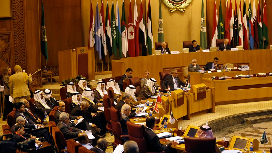 Arab countries foreign ministers attend a summit in the Arab League headquarters in Cairo, Egypt. AP