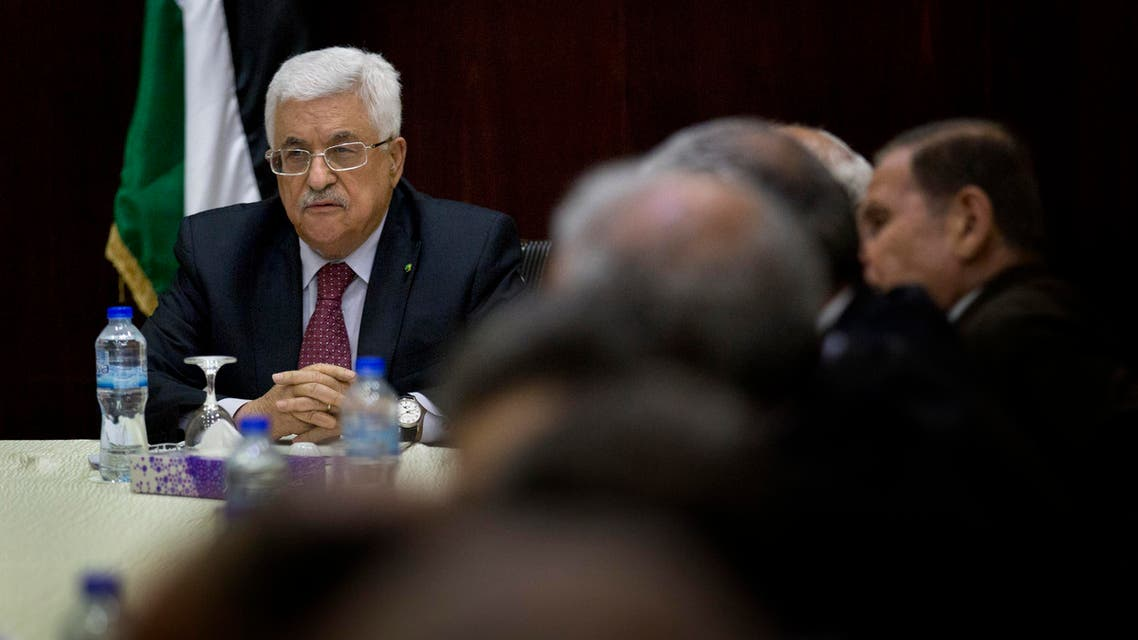 Palestinian President Mahmoud Abbas heads the Palestine Liberation Organization (PLO) Executive Committee meeting at the Palestinian Authority headquarters, in the West Bank city of Ramallah, Monday, June 22, 2015. (APP