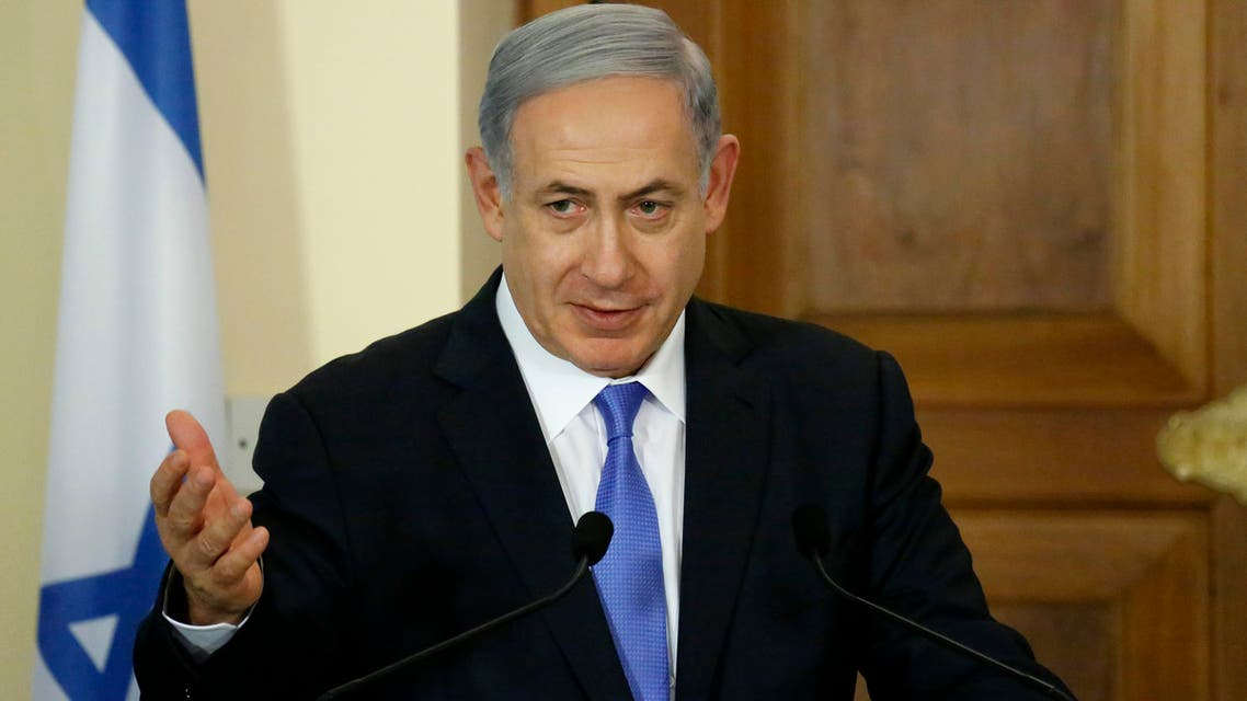 Israeli Prime Minister Benjamin Netanyahu, speaks to the media during a press conference after a meeting with Cyprus' President Nicos Anastasiades at the presidential palace in capital Nicosia, Cyprus, Tuesday, July 28, 2015. AP