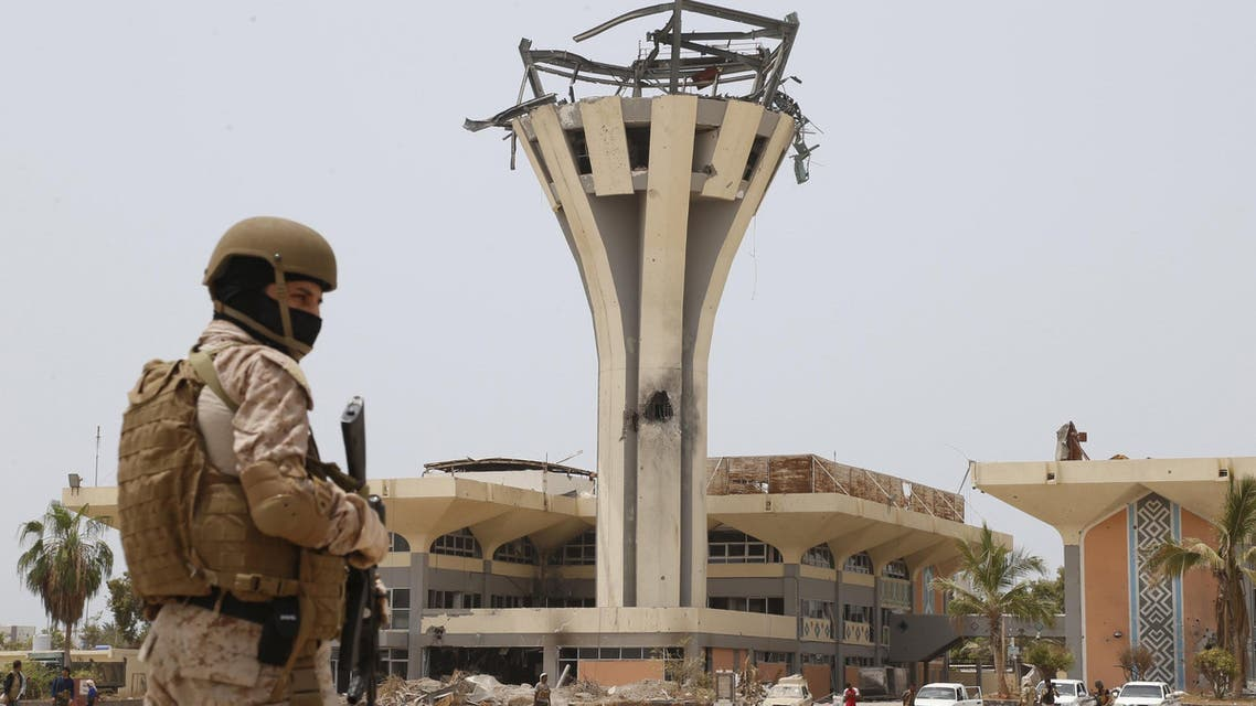 A Saudi soldier stands guard at the international airport of Yemen's southern port city of Aden July 24, 2015. (Reuters)
