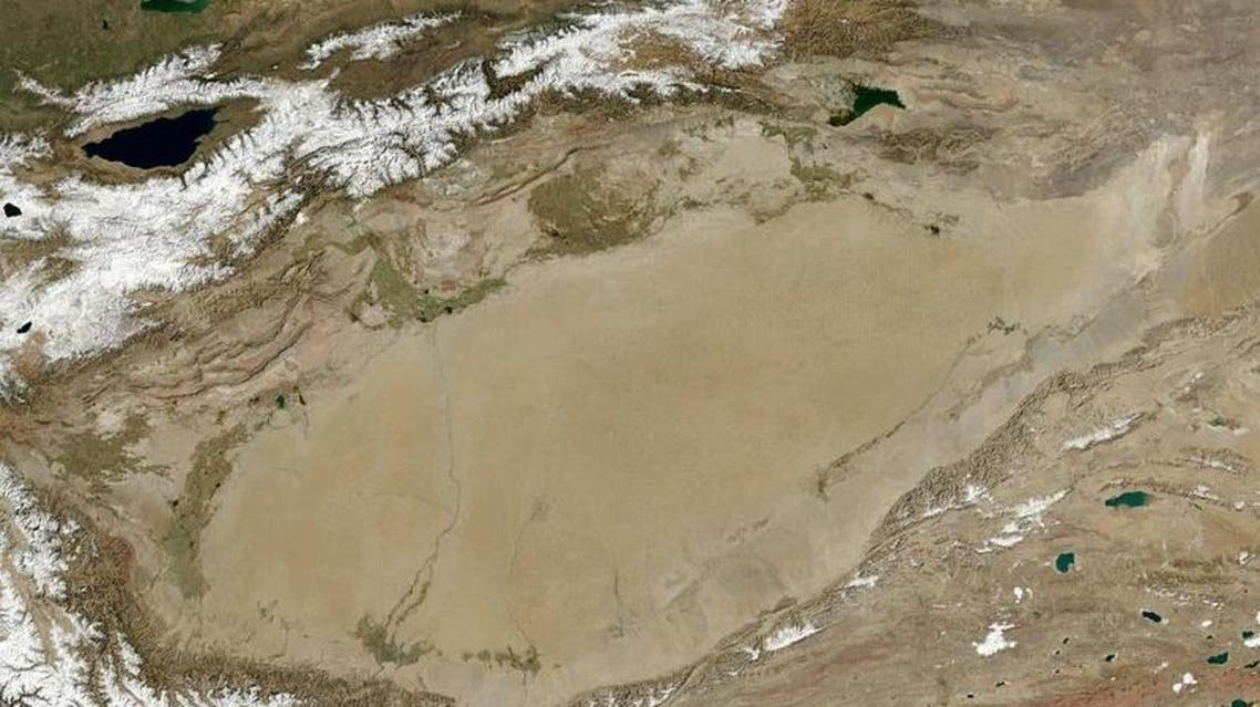 A satellite view of the Tarim basin, which lies in the same area as China's largest desert (NASA)