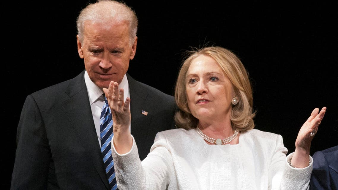Vice President Joe Biden and former Secretary of State Hillary Rodham Clinton appear onstage at the Vital Voices Global Partnership 2013 Global Leadership Awards gala. (AP)