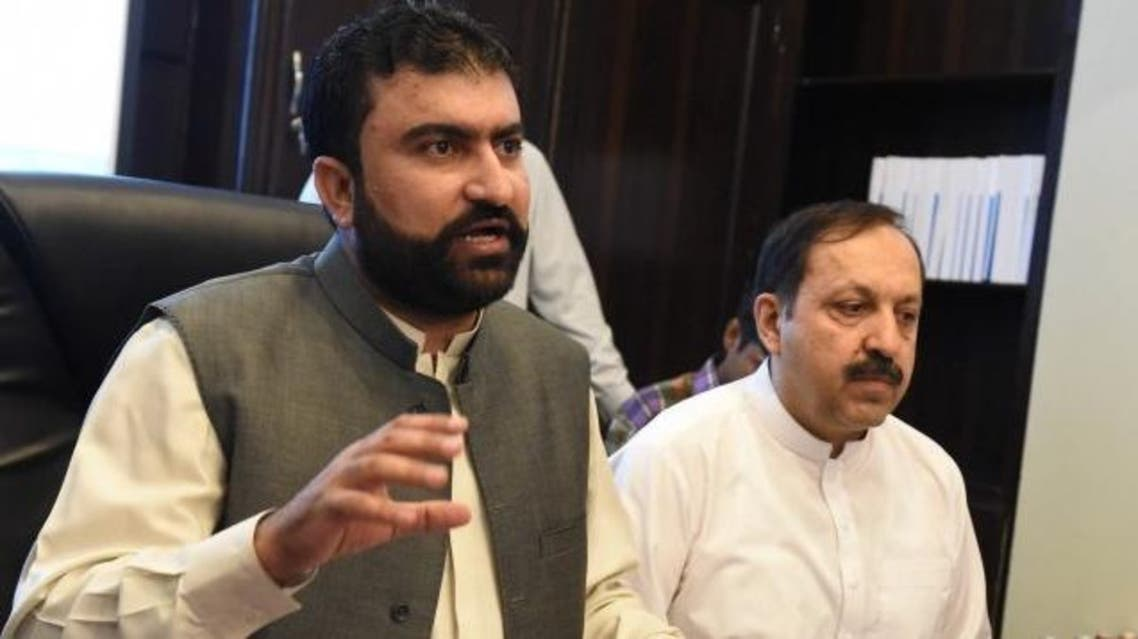 Balochistan Home Minister Sarfaraz Bugti addresses a press conference in Quetta on Sunday.  Express