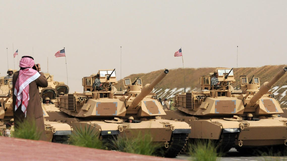 U.S. Army heavy battle tanks are seen during a military parade commemorating the 20th anniversary of the liberation of Kuwait from the 1990 Iraqi invasion AP