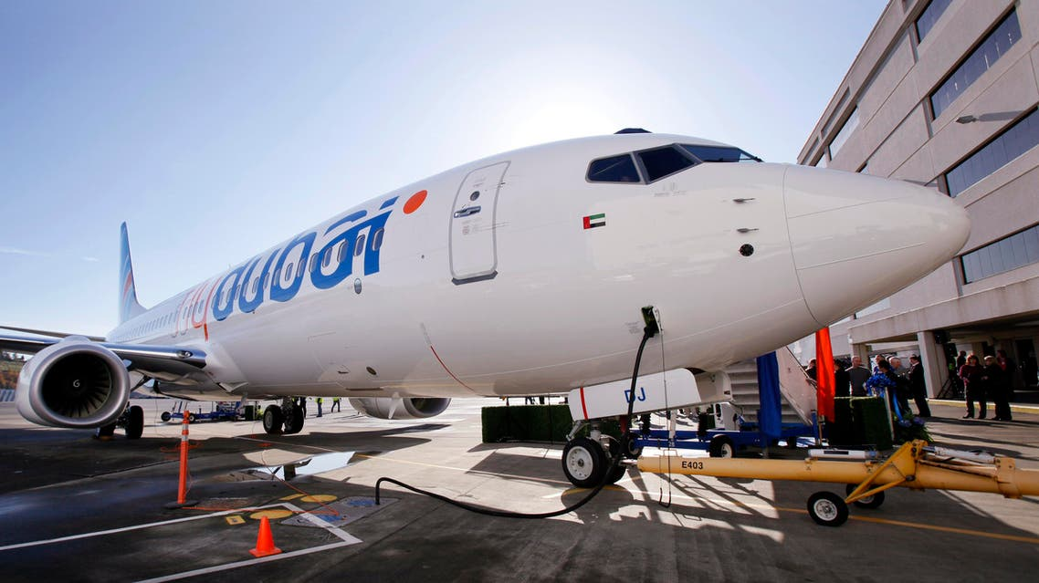 The first Next-Generation 737 with the Boeing Sky Interior is seen after a delivery ceremony Wednesday, Oct. 27, 2010, in Seattle. Flydubai took delivery of the plane, the world's best-selling jet, Monday morning. While the basic fuselage of the plane remains the same, interior changes have been made to make the plane feel more spacious. Those include pivoting overheads bins that hold more, re-shaped windows with a slightly larger view and mood lighting. (AP Photo/Elaine Thompson)