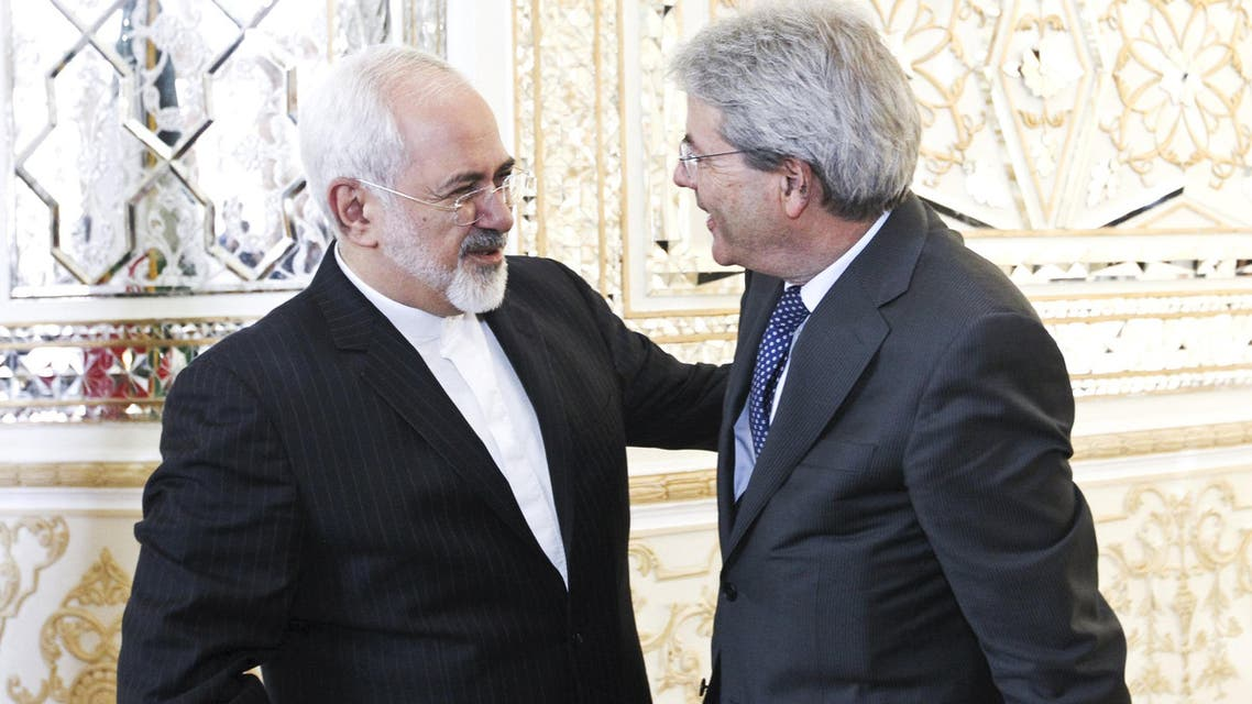 Iranian Foreign Minister Zarif welcomes his Italian counterpart Gentiloni in Tehran