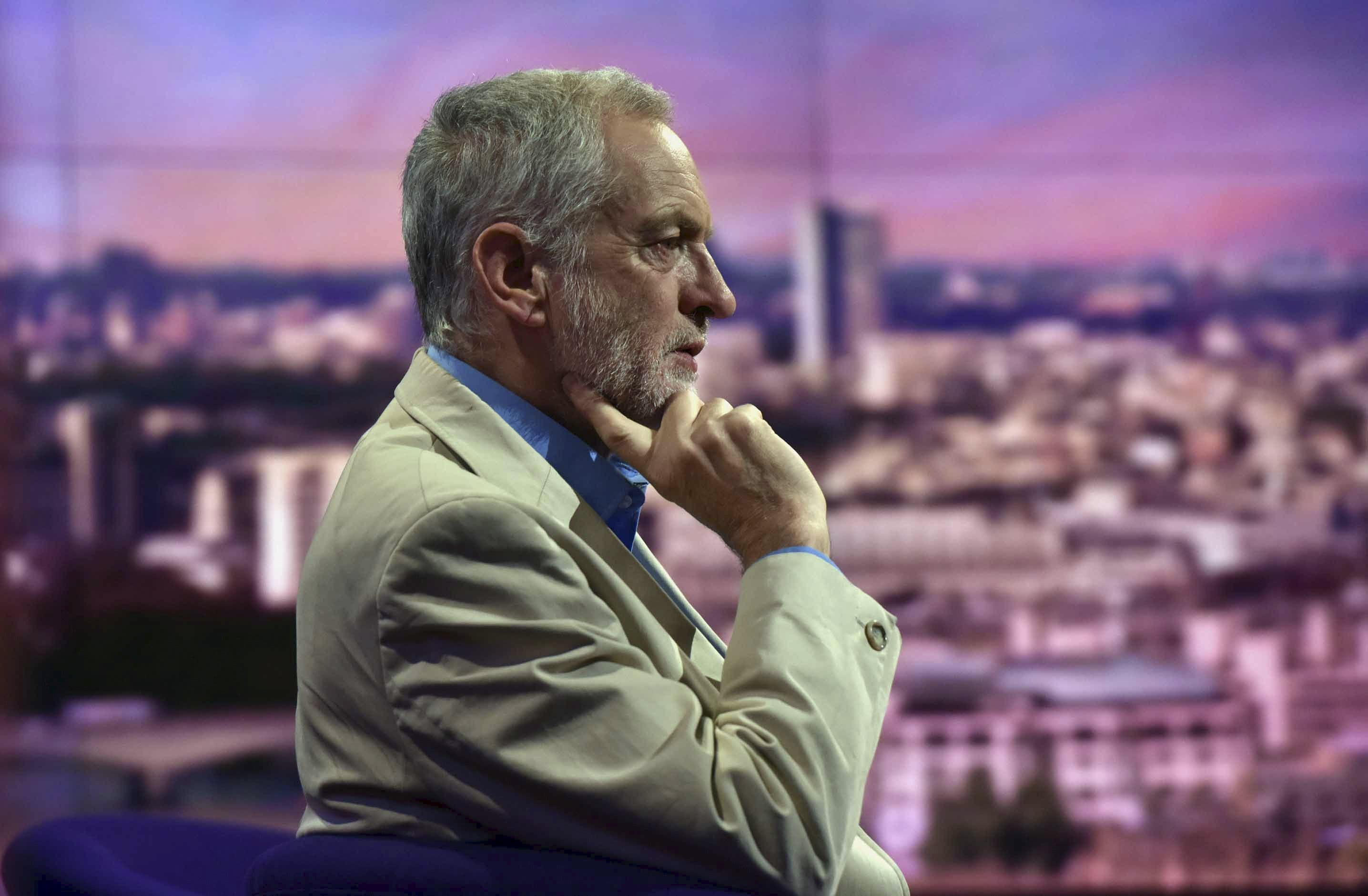 Labour Party leadership candidate Jeremy Corbyn is seen appearing on the BBC's Andrew Marr Show in this photograph received via the BBC in London July 26, 2015. REUTERS/Jeff Overs/BBC/Handout via Reuters