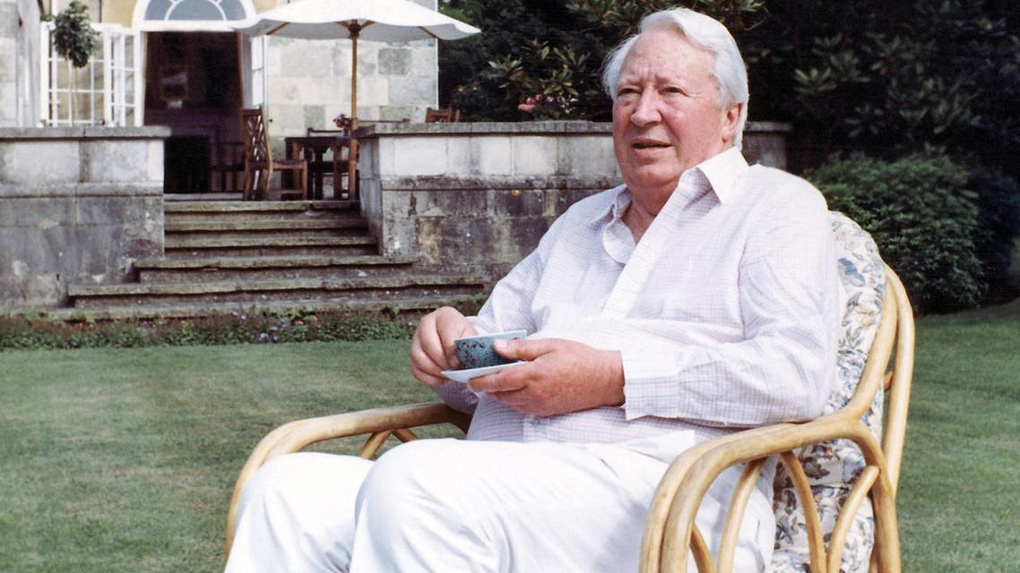 This is a July 19, 1989 file photo of former British Prime Minister Edward Heath as he takes tea in the garden of his home in Salisbury, England. (AP)