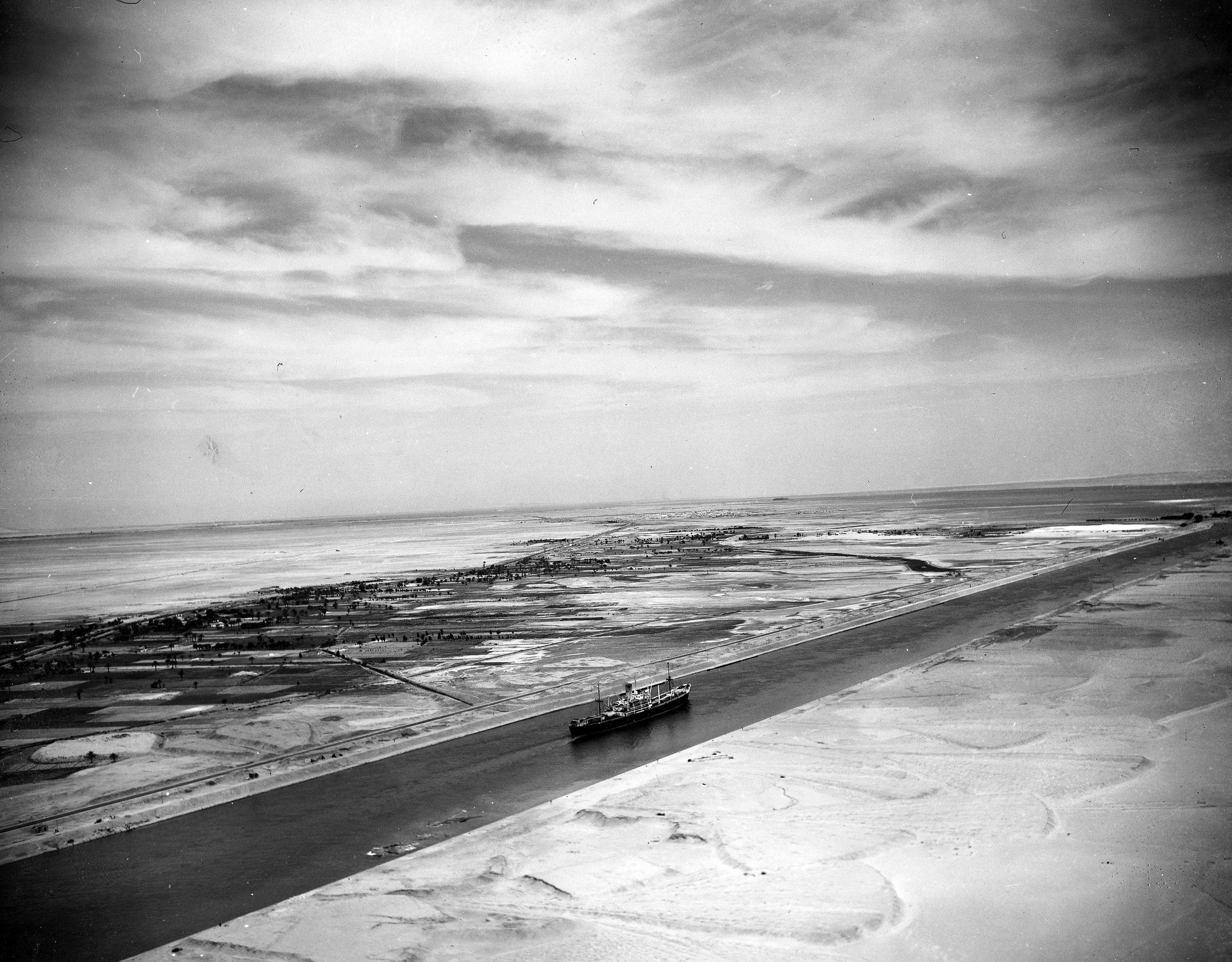 This May 26, 1953 file photo shows an aerial view of the Suez Canal Zone near Ismailia, Egypt. (AP)