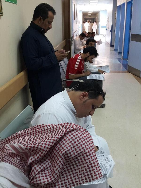 Saudis in hospital to offer their blood to help the wounded after the bombing