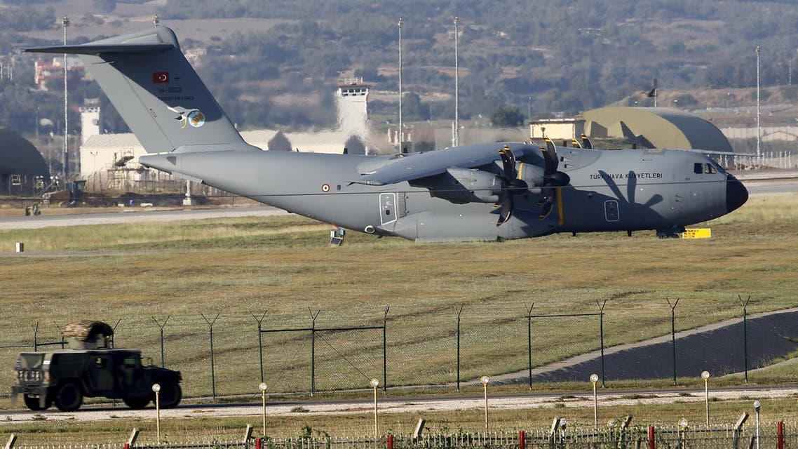 A Turkish Air Force A400M tactical transport aircraft is parked at Incirlik airbase in the southern city of Adana, Turkey, July 24, 2015. Turkey has agreed to allow U.S. planes to launch air strikes against Islamic State militants from the U.S. air base at Incirlik, close to the Syrian border, U.S. defense officials said