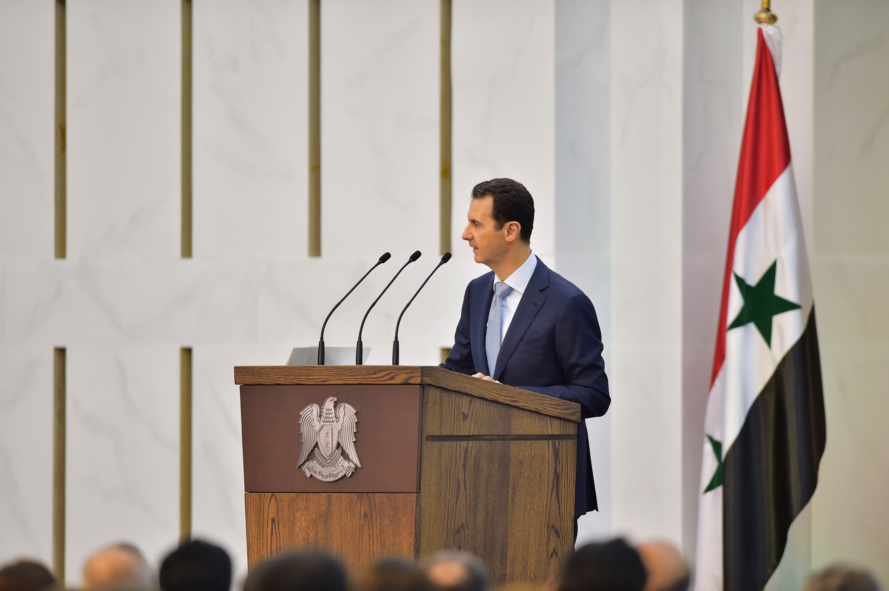 In this photo released by the Syrian official news agency SANA, Syrian President Bashar Assad delivers a speech in Damascus, Syria, Sunday, July 26, 2015. (AP)