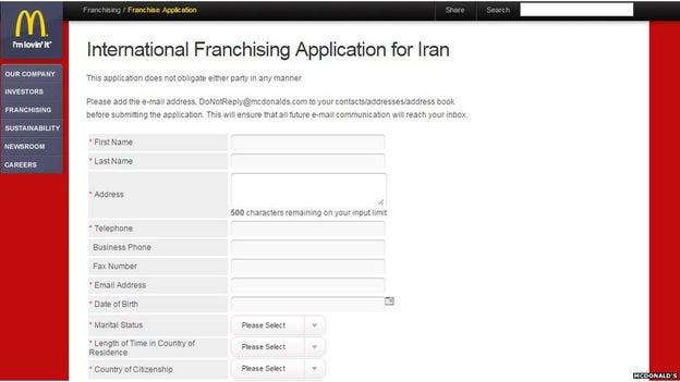 An application form to open a franchise in Iran is now on the chain's website