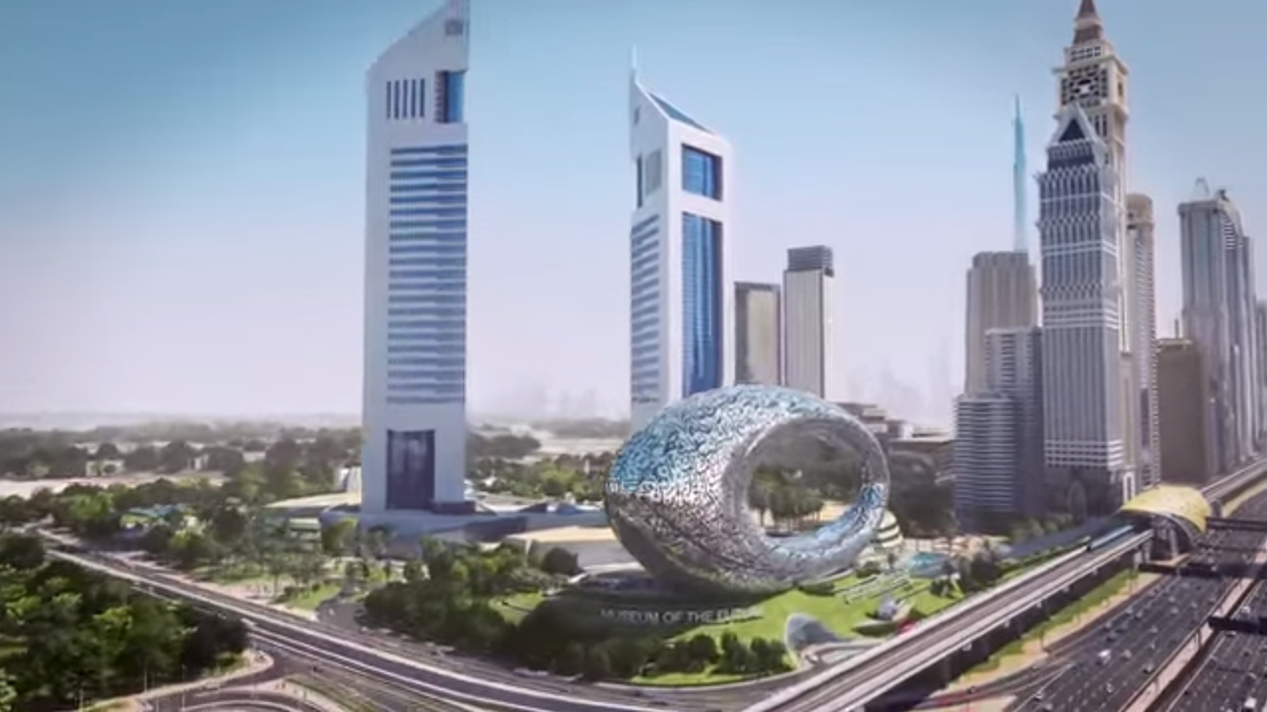 A still from promotional video showing the museum, which lies next to Sheikh Zayed Road, Dubai's main thoroughfare (Video grab)
