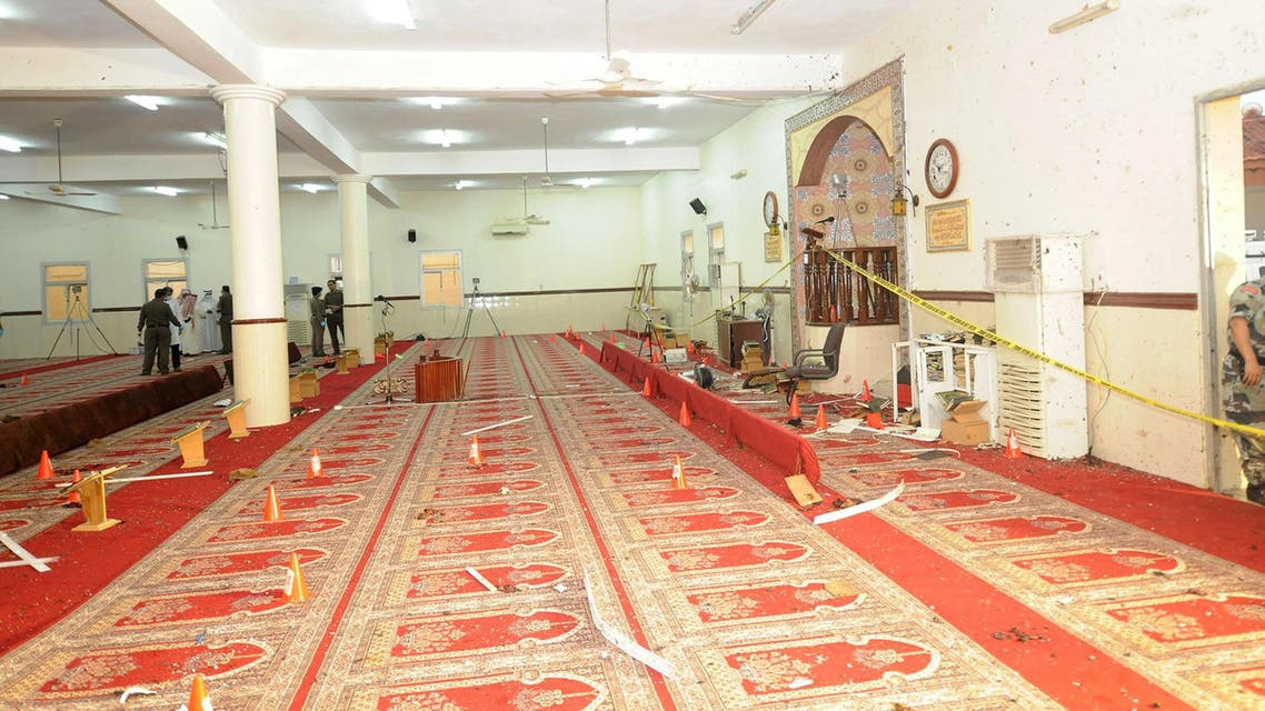 Damage is seen inside a mosque used by members of a local security force in Abha, southwest Saudi Arabia. (Reuters)